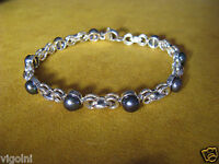BRACELET BLACK PEARL SS SILVER GIFT HONORA LINK ROLO CHAIN Link