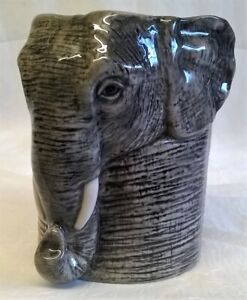 QUAIL CERAMIC ELEPHANT DESK TIDY PENCIL PEN BRUSH POT OR VASE - WILDLIFE ANIMAL