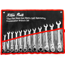 12Pc DUO Flexible Head and End Ratchet Wrench Tool Set SAE Metric Combination