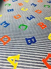 Abc Letters on Blue and Ivory Denim-look Stripe Fabric Individual 1/3 Yard Cuts