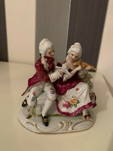 Vintage Handmade Porcelain Figurine Woman Playing Violin and Men Holding Musical