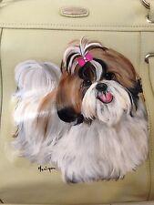 Shih Tzu Hand Painted Padded Tote Handbag Pocketbook - New - BEAUTIFUL!