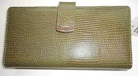Ladies Alfani Genuine Leather Lizard Grain Checkbook Wallet,Olive