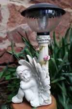 Engel steingrau sitzend Mit Laterne Solar Licht Grab Figur Grabengel  Neu