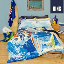 King Bed Size Doona Duvet Quilt Cover Set AUSTRALIA BLUE Retro Home Vintage