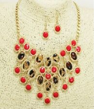 Gold Coral and Leopard Acrylic Fashion Necklace Set