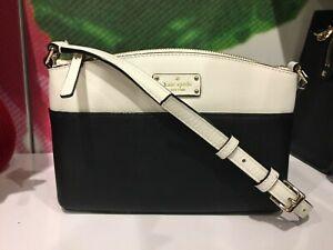 Kate Spade Millie Grove Street Leather Crossbody Black&cemn Shoulder Handbag Bag