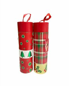 2 Pack Christmas Wine Carrier - Circular Alcohol Gift Boxes -