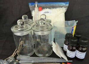 4 JAR SOY WAX CANDLE MAKING KIT, 4 X FRAGRANCE, WICKS, JUG, FULL INSTRUCTIONS