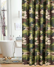 Camo Fabric Shower Curtain Boys Kids Child Mens Bath Green Brown Camouflage