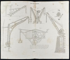 1852 - Engraving Arts Machine Heads: Cranes (2) . Science, Plan