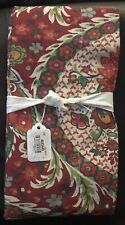 Pottery Barn Darcy EURO Pillow Sham RED Multi Floral Cotton PB