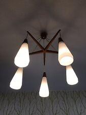 50er 60er Kaskadenlampe Teak Glass Design Lamp Luxus 50s 60s Sweden? Danish?
