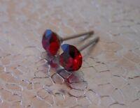 HYPOALLERGENIC Post Earrings  Swarovski Elements Crystal  Siam  January  Red