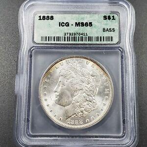 1888 P Morgan Silver Eagle Dollar Coin ICG MS65 Gem BU UNC $1 Certified