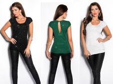 Maglia Maglietta donna manica corta t-shirt elasticizzata strass fiocco sera