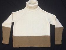 Vince L ivory brown colorblock long sleeve wool cashmere silk turtleneck sweater