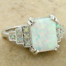 WHITE LAB OPAL ANTIQUE ART DECO STYLE 925 STERLING SILVER RING SIZE 7,      #648