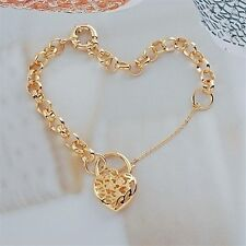18K Yellow Gold Filled Filigree Heart Padlock Belcher Bracelet (B-284)