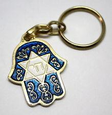 Lucky Hamsa Star of David Israel CHAI Judaica Key Ring + Jewish Travelers Prayer