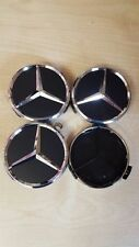 4x BLACK CHROME AMG MERCEDES 75mm ALLOY WHEEL CENTRE CAPS