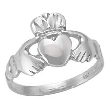10k White Gold Claddagh Ring (NEW band, 2.4g) #1976