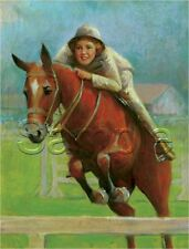 EQUESTRIAN RACE HORSE BACK RIDER PIN UP GIRL JUMP SPORTS VINTAGE CANVAS PAINTING