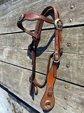 Used good quality spotted Western brow band headstall w/star conchos, buckles