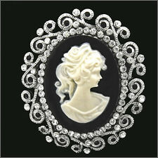 Vintage Victorian Design Queen Lady Cameo Black Crystal Pin Brooch Christmas New