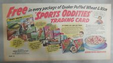 Quaker Cereal Ad: Sports Oddities Trading Cards Premium! 1950's 7.5 x 15 inches