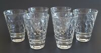 "Vintage Juice Glasses Clear Diamond Heavy Base Bar Ware 3 3/4"" Set of Six (6)"