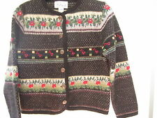 TALLY HO CREATION 100% Wool Sweater Nordic Woman Sz Petite Med Black Red Floral