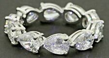Platinum NEW 5.0CT VS1/F Pear diamond 10-stone eternity band ring size 6.25