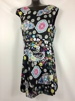 Sunny Girl Dress Modcloth Black Satin Paisley XXL Pleated Skirt  Sleeveless