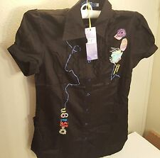 LIUCE'S Blouse New M Black with Sewing Embellishments Appliques