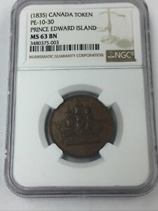 1835 Canada Token PE10-30 Prince Edward Island Ships Colonies & Comm NGC MS 63