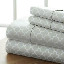 Bed Sheet Set King Gray Quatrefoil 4 Piece Deep Pocket Fitted Hypoallergenic New