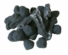 Gas Fire Replacement Ceramic Charcoal Log Set For Coal Gas Fire & 10 Cast Coals*