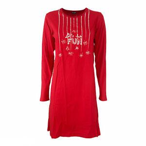 Camicia da Notte Donna LOVABLE L04PK EASY STYLE Rosso Man Lunga in Cotone
