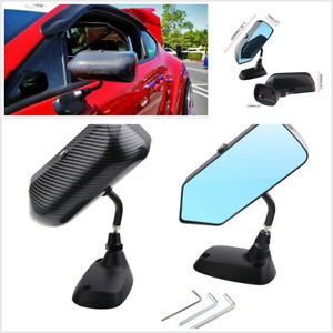 1 Pair Carbon Fiber Look Mirror F1 Style Universal Fit For Car Left Right Side