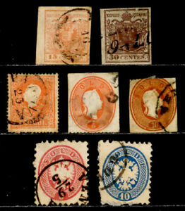 AUSTRIA LOMBARDY-VENETIA: 19TH CENTURY CLASSIC STAMP COLLECTON CV $162 FAULTS