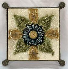 New listing Antique Vintage Floral Flower Tile Trivet In Brass Footed Base
