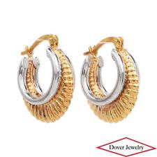 Estate 10K Two-Tone Gold Purse Hoop Earrings NR