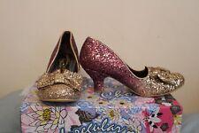 IRREGULAR CHOICE Fancy That Pink Gold Glitter Bow low heels RRP£75 sz 4 BNIB