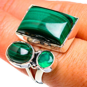 Large Malachite, Green Onyx 925 Sterling Silver Ring Size 7 Jewelry R79646F