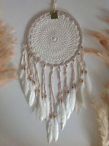 Dream Catcher Light Brown & Cream 31cmx80cm Crochet Web Wall Hanging Room Decor