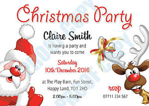 PERSONALISED CHRISTMAS PARTY INVITES Invitations SANTA AND RUDLOPH Pack of 10
