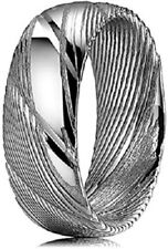 Men's Ring Silver Damascus Steel 8 mm Etched Wedding Band Unique Size 10.5