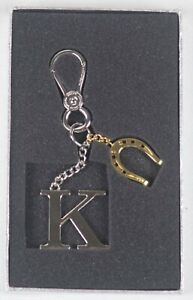 Ralph Lauren Gold Silver Chain Keyfob Handbag Horseshoe Charm Newbury NWT