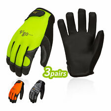 Vgo 3pairs Touchscreen Pu Leather Work Gloveslight Duty Mechanic Glovespu8718